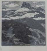 Gwen Raverat (1885 - 1957), framed and glazed woodcut of a mountain scene with cottage. Label to the