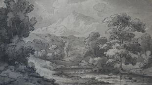 A 19th century pen and ink sketch of a Welsh landscape, unsigned, inscribed to the mount and