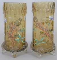 A pair of Moser style 19th century art glass vases, each with wax drip effect round the rim,