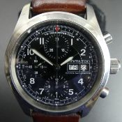 Hamilton Khaki stainless steel, automatic chronograph wristwatch, on a brown leather strap, with a
