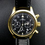 IWC International Watch Company black face, 18 carat gold polished and brushed finish chronograph