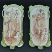 Victorian pair of German bisque hand tinted, relief moulded figural wall plaques, circa 1890. 27 cm.