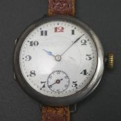 Vintage Rolex sterling silver cased trench 'Red 12' watch. 1914 London import marks to the Rolex