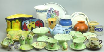 Various Art Deco pottery including, Poole, Carlton Ware and Crown Ducal. Collection only.