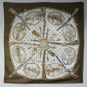 Boxed Hermes Hunting Scene design silk scarf. 88 cm square. UK Postage £15.