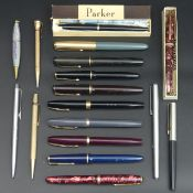17 Parker, Conway Stewart and other pens and pencils. UK Postage £15.