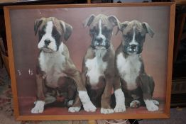 A LARGE FRAMED AND GLAZED PRINT OF PUPPIES, OVERALL SIZE INC FRAME 97CM X 71CM