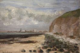 (XX). Stormy coastal scene with town in background, indistinctly signed lower left, oil on canvas,
