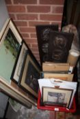 A LARGE QUANTITY OF PICTURES AND PRINTS ETC TO INCLUDE A LARGE PRINT OF PLANET EARTH