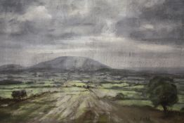AN UNFRAMED PASTEL ON PAPER LAID ON BOARD DEPICTING A COUNTRY LANDSCAPE SIGNED S. FELL OVERALL