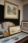 A LARGE GILT FRAMED AND GLAZED PRINT SIGNED E R STURGEON ENTITLED BY THE WYE BAKEWELL, TWO LARGE