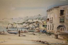 A FRAMED AND GLAZED WATERCOLOUR DEPICTING A CONTINENTAL HARBOUR SCENE INDISTINCTLY SIGNED LOWER LEFT