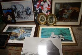 A COLLECTION OF LARGE PRINTS TO INCLUDE 'COOL FOR CATS' BY WILLIAM DE BEER OVAL FRAMED PRINTS, ELVIS