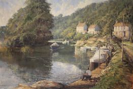 R.G.TROW (XX). Modern British school .Mill on the Avon' with boats and figures, see verso, signed