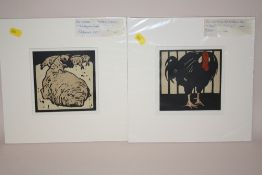 TWO UNFRAMED MOUNTED LITHOGRAPHS DEPICTING SHEEP AND A TURKEY BY WILLIAM NICHOLSON OVERALL SIZE