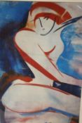 AN UNFRAMED MOUNTED MODERNIST FEMALE NUDE PRINT SIGNED STORK TO MOUNT IN PENCIL OVERALL SIZE