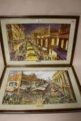 A PAIR OF FRAMED AND GLAZED BIRMINGHAM INTEREST BULLRING MARKETS MIXED MEDIA PICTURES