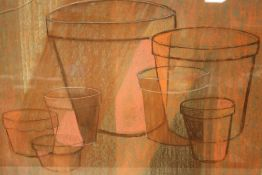 A FRAMED ABSTRACT PASTEL OF PLANT POTS