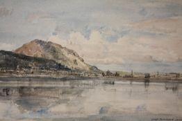 DAVID THOMAS MUIRHEAD (1867-1930). Coastal town` scene 'Portmadoc, N. Wales', see label verso,