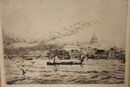 A FRAMED AND GLAZED SIGNED ETCHING ENTITLED 'THE THAMES AT ST PAUL'S' BY ANDREW WATSON TURNBULL,