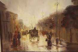 JOHN BAMPFIELD (b.1948). Impressionist rainy street scene with horse drawn cabs and figures,