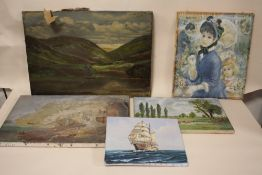 FOUR ASSORTED OIL ON CANVASES TOGETHER WITH PRINT (5) LARGEST 51CM X 36CM