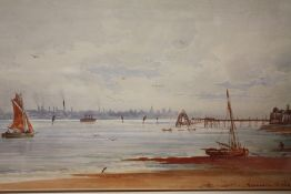 A FRAMED AND GLAZED WATERCOLOUR OF SEACOMBE PIER - MERSEY, SIGNED FREDERICK W WAUGH, 44CM X 25CM