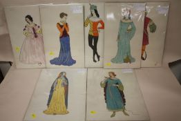 A COLLECTION OF SEVEN UNFRAMED WATERCOLOURS DEPICTING FIGURES IN MEDIEVAL COSTUME ALL INITIALLED K.