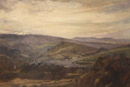 OLIVER HALL (1869-1957). A stormy Lancashire fell scene, see verso, signed lower right, oil on