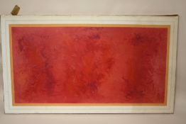 AN UNFRAMED ABSTRACT OIL ON CANVAS SIGNED BOB PAUL LOWER RIGHT - OVERALL SIZE 81CM X 46 CM
