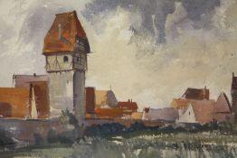 SYKES (XX). British school, impressionist rural riverside village scene, signed lower left,