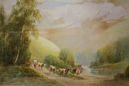A GILT FRAMED AND GLAZED WATERCOLOUR OF A FIGURE DRIVING CATTLE TO THE STREAM, SIGNED R.E.HAGUE