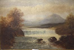A GILT FRAMED OIL ON BOARD OF A COUNTRY WATERFALL