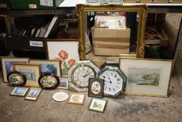 A GILT FRAMED MIRROR TOGETHER WITH A QUANTITY OF PRINTS, WATERCOLOUR, CLOCKS ETC