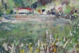 A LARGE FRAMED AND GLAZED IMPRESSIONIST GOUACHE SIGNED S BAMFORD LOWER RIGHT, OVERALL SIZE INCLUDING