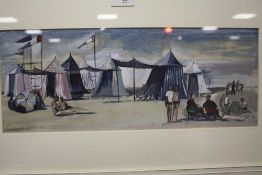A FRAMED AND GLAZED WATERCOLOUR FOR A FRENCH BEACH 'AT LE TOUQUET' BY EUGENIE FORNAU 43CM X 16.5CM