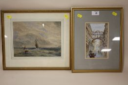 TWO FRAMED AND GLAZED WATERCOLOURS DEPICTING A VENETIAN SCENE TOGETHER WITH SEASCAPE (2)