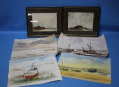 JAN CLUTTORBUCK, WATERCOLOUR OF A HARBOUR SCENE, along with two framed J.S Moody watercolours of