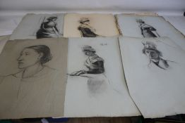 THIRTEEN CHARCOAL AND PENCIL PORTRAITS, drawings all with monogram M + H and signature on one