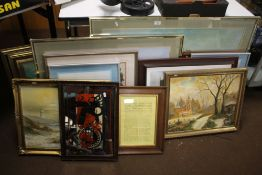 A QUANTITY OF PICTURES AND PRINTS TO INCLUDE A PRINT OF WOLVERHAMPTON MARKET, TWO OILS ON BOARD
