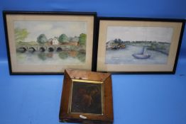 """TWO FRAMED WATERCOLOURS, ON REVERSE IS """"REV. T. HAMMOND' c.1975, 'Town Bridge Christchurch' and '"""