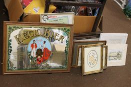 A QUANTITY OF PICTURES AND PRINTS TOGETHER WITH A BECKS BIER ADVERTISING MIRROR