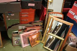 A QUANTITY OF PICTURES, PRINTS AND MIRRORS
