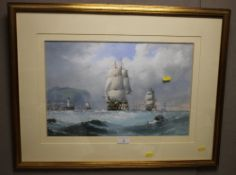 MICHAEL MATTHEWS GOUACHE AND WATERCOLOUR PAINTING OF A SEASCAPE DEPICTING SEVERAL SHIPS UNDER