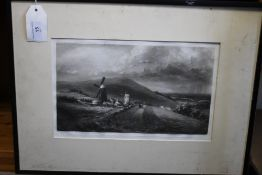 A FRAMED PRINT DEPICTING A LANDSCAPE SCENE, published 1923 by Vickers Brothers, 39 x 50 cm¦Condition