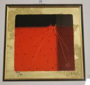 A FRAMED AND GLAZED LIMITED EDITION GOVINDER NAZRAN PRINT, 555/795, 48 X 48 CM