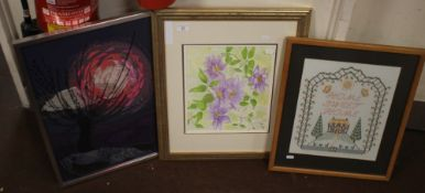 TWO FRAMED AND GLAZED MODERN TAPESTRIES TOGETHER WITH A WATERCOLOUR OF A CLEMATIS