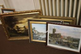 AN OIL ON CANVAS DEPICTING A LANDSCAPE SIGNED F. BEELK TOGETHER WITH THREE FRAMED PRINTS