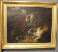AN FRAMED OIL ON CANVAS OF A JACK RUSSELL, SIGNATURE INDISTINCT, 63 x 53 cm including frame¦