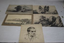 """A FOLDER OF ORIGINAL PENCIL SKETCHES AND PEN & INK DRAWINGS to include three with """"H. W. Burgess"""